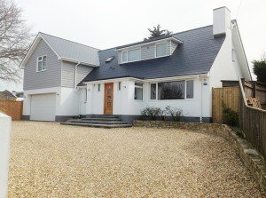 marc of approval, parkstone, refurbishment, poole, dorset, renovation, cladding, new england style house, sandbanks, elms avenue, driveway