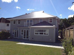 marc of approval, parkstone, refurbishment, poole, dorset, renovation, new build, back garden, landscaped, patio, turf, exterior, slate tile roof, cladding